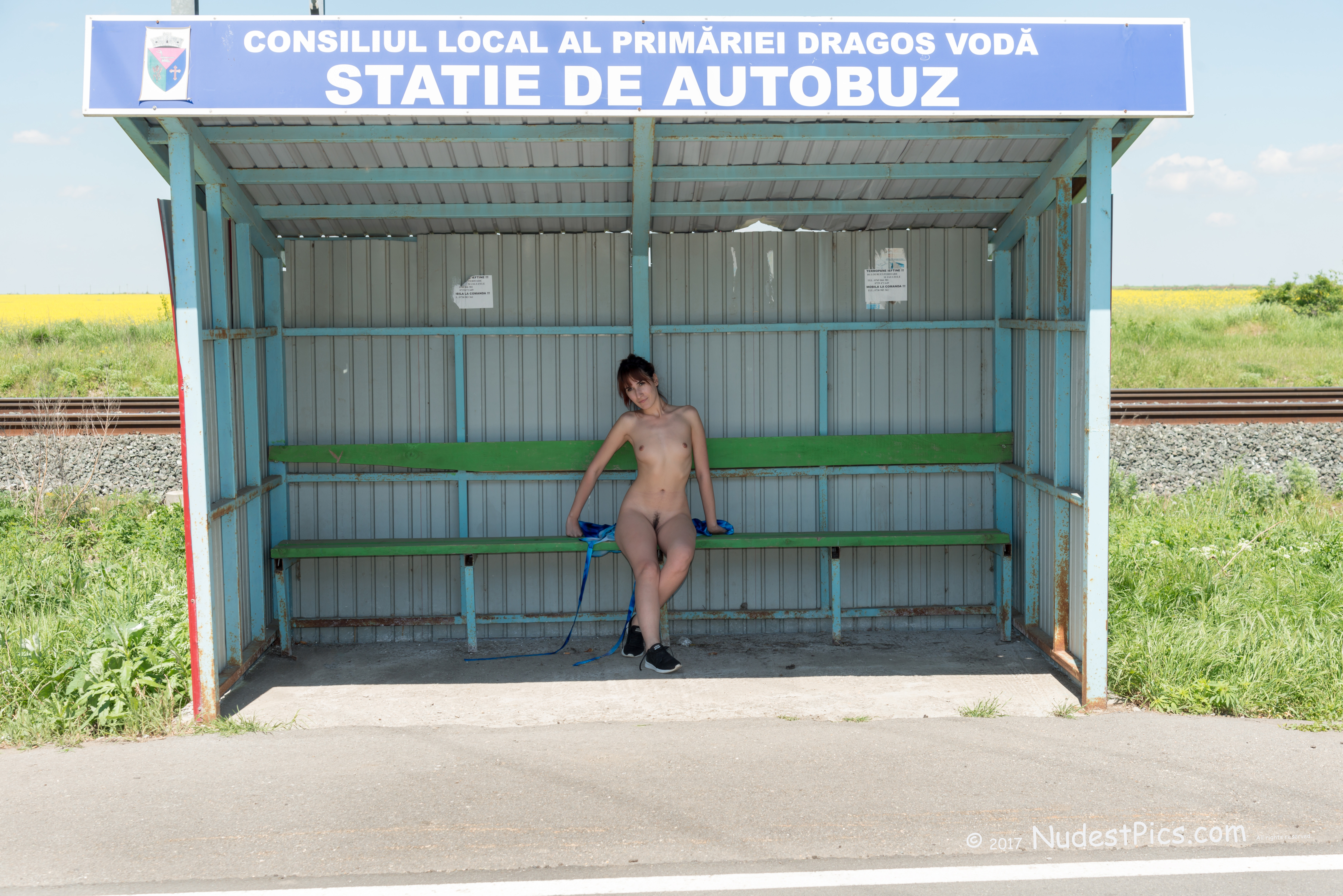Naked Girl in the Bus Station HD